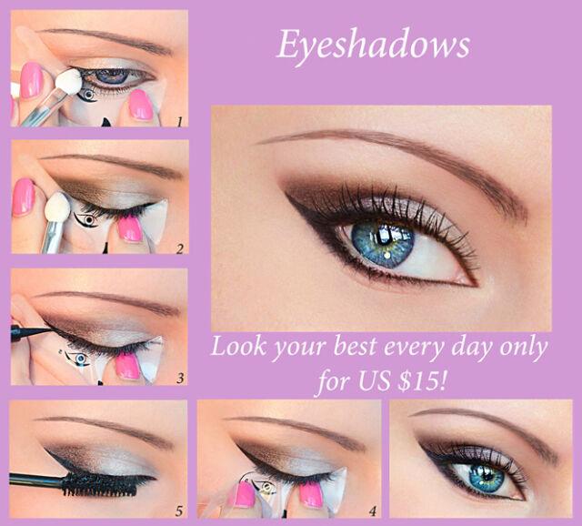 ORIGINAL 3pcs Quick Makeup Stencils+12pcs Eyeliner Stickers Shadow Eyebrow CA5