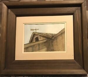 Vintage-Dbl-Matted-Barn-Watercolor-Painting-Heavy-Wood-Frame-13-X-11-Rustic