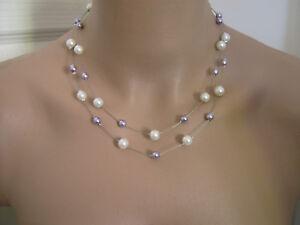 Collier Ivoire Parme Mauve pr robe de Mariée Mariage Soirée perles ... 74da1a62a7cc