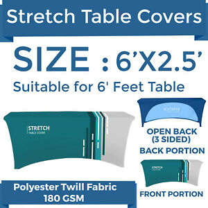 Details About 6ft Custom Printed Stretch Table Cover 3 Sided Tablecloth For Trade Show Expo