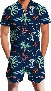 UNIFACO Mens Printed One Piece Short Sleeve Zipper Rompers Summer Short Jumpsuit Overall Pants w//Pocket