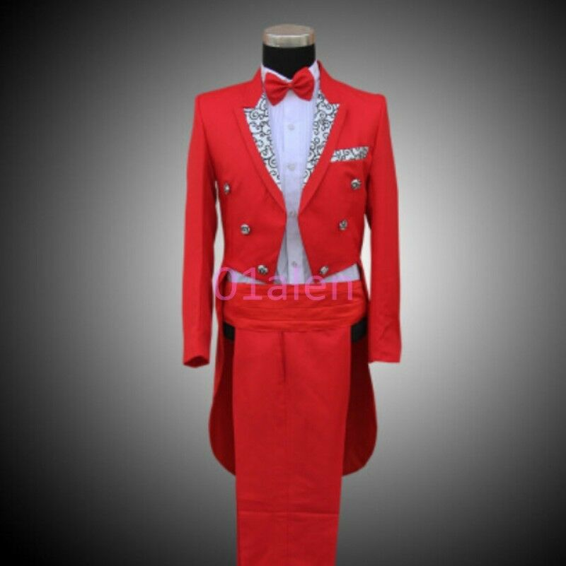 Mens Floral Show Wedding Tuxedo New PANTS Fashion Coats Formal Tail Party Magic