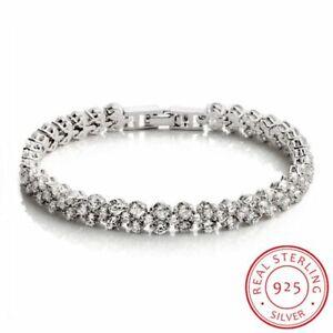 925-Sterling-Silber-Cluster-Runde-Zirkonia-Tennis-Armband-women-silver-bracelet
