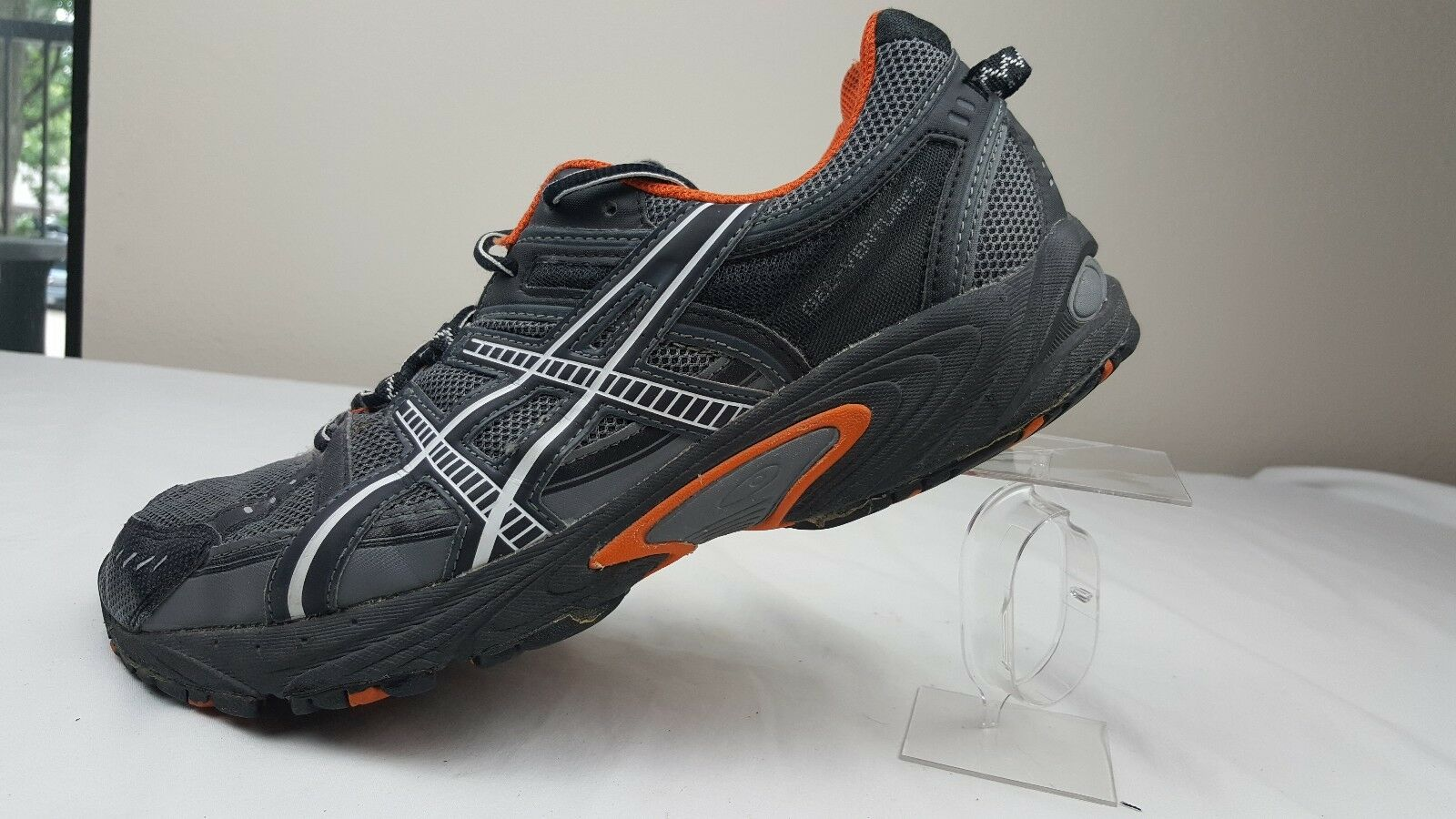 Asics GEL-Venture 3 Running shoes T21EQ Charcoal Blk orange Mens US Size 11