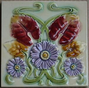 Antiques Antique Art Nouveau Majolica Tile C1900 Architectural & Garden Honesty Belgium Unknown