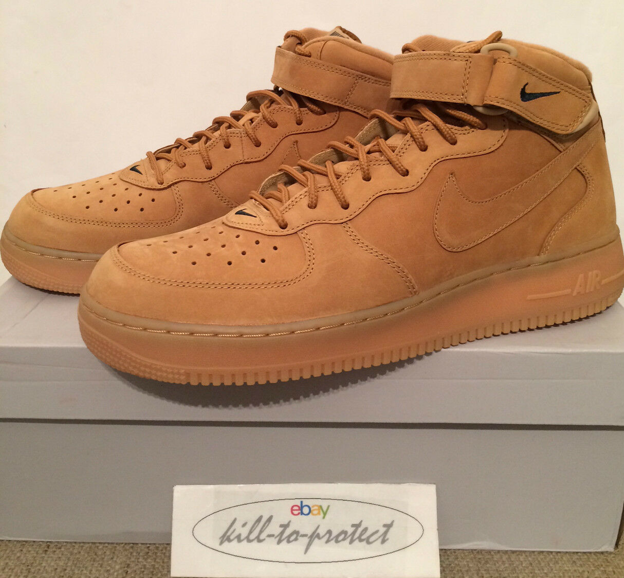 NIKE AIR FORCE ONE MID WHEAT US UK7 8 9 10 11 Brown QS 715889-200 Flax 2014