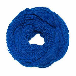 Schal-Strickschal-Zopfmuster-Royalblau-Loop-Rundschal-Grobstrick-warm-blau-neu