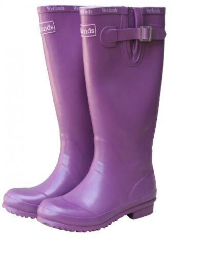 Zones humides Mesdames bottes de pluie classique noir rose bottes rouge prune taille NOUVEAU