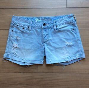 Bullhead-Blue-Jean-Shorts-Junior-size-1-Raw-Hem-Light-Wash-Destroyed