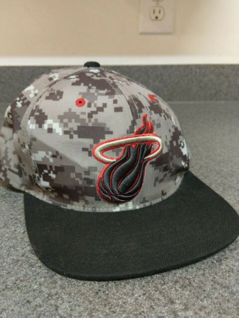 e19c934b5ccb5 NBA Miami Heat Adidas Black Red Snapback Hat Cap Flat Bill Basketball
