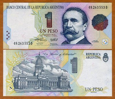 Argentina 1 Peso ND 1993 Pick 339.b UNC Uncirculated Banknote Serial D