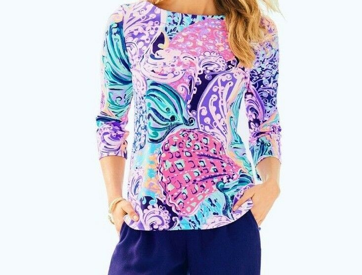 Neu Lilly Pulitzer Waverly Top Multi Alle That She Wants lilat Rosa Blau XS S