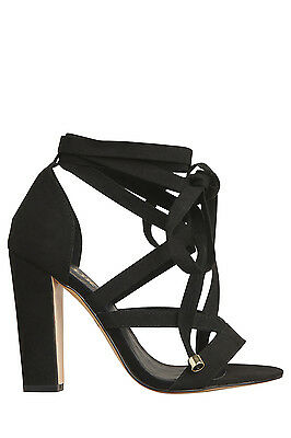 NEW Lipstik Gidge Black Micro Sandal
