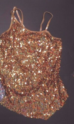 NWOT Sequin Spandex one shoulder dance costume top HOLOGRAM Ladies Performance