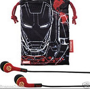 MARVEL-IRON-MAN-EARBUDS-3-AVENGERS-IHOME-IN-EAR-PLUGS-POUCH-5-SIZES-DISNEY