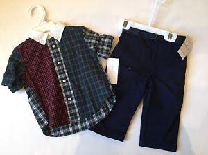 6a0d73f0 Details about NWT Ralph Lauren Baby Boy Plaid Oxford Polo Shirt Dress Pants  2-PC Set 3 Mo