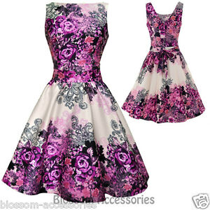 RKL5-Lady-Vintage-Hepburn-Purple-Rose-Floral-Dress-50s-Swing-Retro-Rockabilly