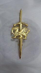 NUOVO-Celtic-Drago-Gallese-Spilla-per-kilt-placcato-oro-4-034-Spada