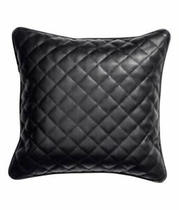 Pillow Leather Cushion Cover Decor Set Genuine Soft Lambskin Black All Sizes 62