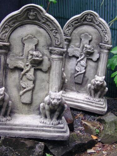 Pierre personnage vollmassiver pierre tombale ornement rose sur croix /& 2 Gargoyles steinguß