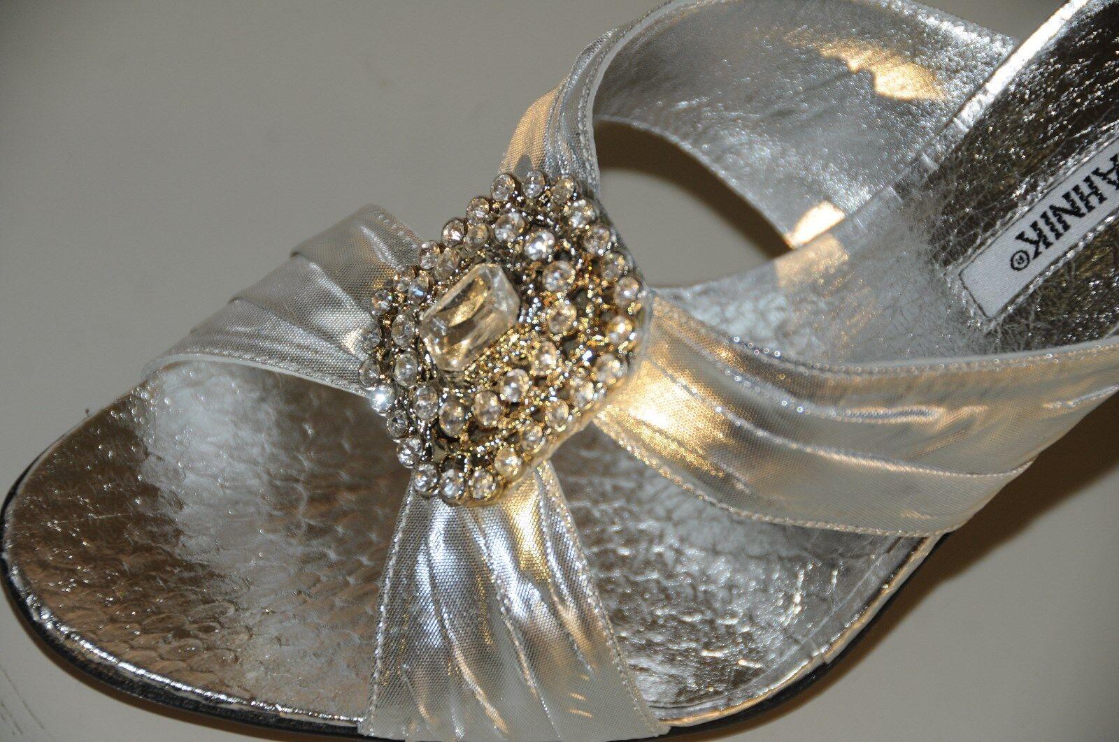 garanzia di credito Nuovo Manolo Blahnik Ingioiellato argentoo argentoo argentoo Pitone Epais Matrimonio Sandali Scarpe  ecco l'ultimo