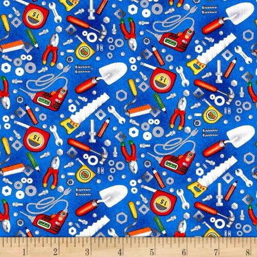 Building 101 Construction Tools Blue Fabri-quilt 100/% cotton fabric by the yard