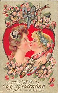D36-Valentine-039-s-Day-Love-Holiday-Postcard-c1910-Glitter-Kiss-Heart-12