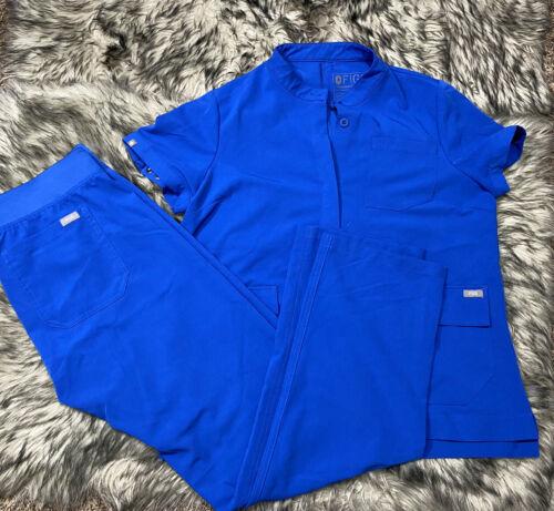 Figs SET Women Livingston Scrub Pants Royal Blue &