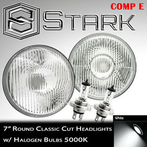 "H6024 Head Light Glass Housing Lamp Projector Conversion Chrome 7/"" Round PAIR"