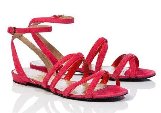 495 Nueva Escada Sandalias Sandalias Sandalias AS967 Gamuza framboise rosadodo coral y Correa en el Tobillo Zapatos 40  El ultimo 2018