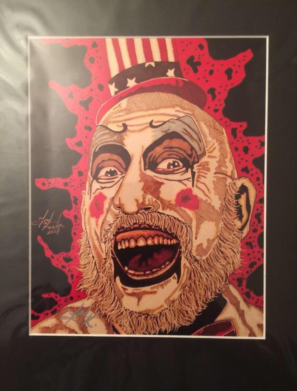 DevilsRejects Captain Spaulding 11x14 Matted Sketch Prints SignedByArtistTKeaton