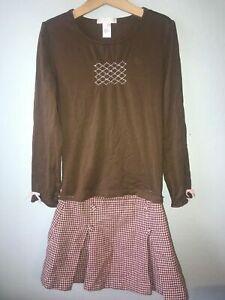 Janie & Jack Little Paris Pink Brown Houndtooth Skirt/Smocked Top Sz 8, Skirt 7