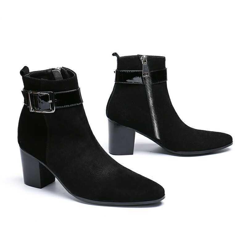 Men's British Fashion Side Zipper Pointy Toe Block High Heels Black Ankle Boots