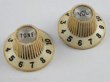 Pair of relic AGED CREAM Fender 65 Jazzmaster Witch Hat Knobs 099-2086-000