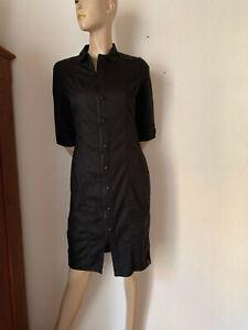 Hemdblusenkleid-von-G-Star-schwarz-Baumwolle-PU-Stretch-M
