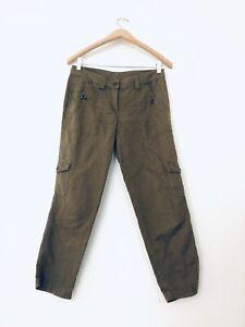 J Crew Para Mujer Capri Pantalones Talla 2 Cargo Algodon Lino Ciudad Fit Verde Khakis Ebay
