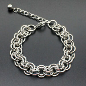 Men-Stainless-Steel-Figaro-Curb-Link-Chain-Wristband-Clasp-Cuff-Bracelet-Bangle