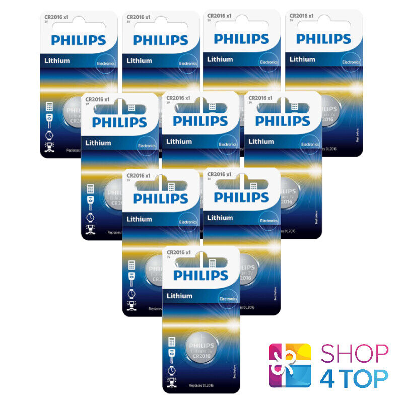10 Philips cr2016 Lithium Batteries 3v Coin Button Cell dl2016 1bl Exp 2023