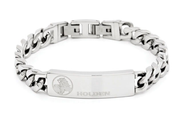 HOLDEN LION LOGO RACING STAINLESS STEEL SILVER ID CHAIN BRACELET JEWELLERY 22CM