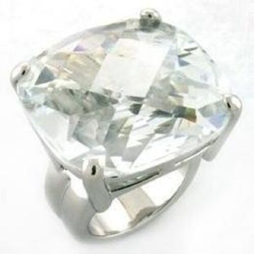 A677 20C CLEAR FLAWLESS COCKTAIL SIMULATED DIAMOND RING WOMENS CUSHION STAREMENT