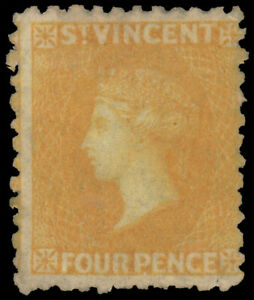 ST. VINCENT 1869 4p YELLOW PERF. 11 TO 13 W/O WMK MINT #7 vibrant color part o.g