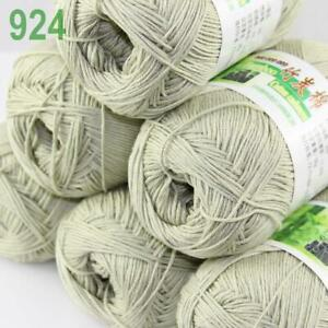 AIPENG 6ballsX50gr Soft Baby Natural Smooth Bamboo Cotton Hand Knitting Yarn 34