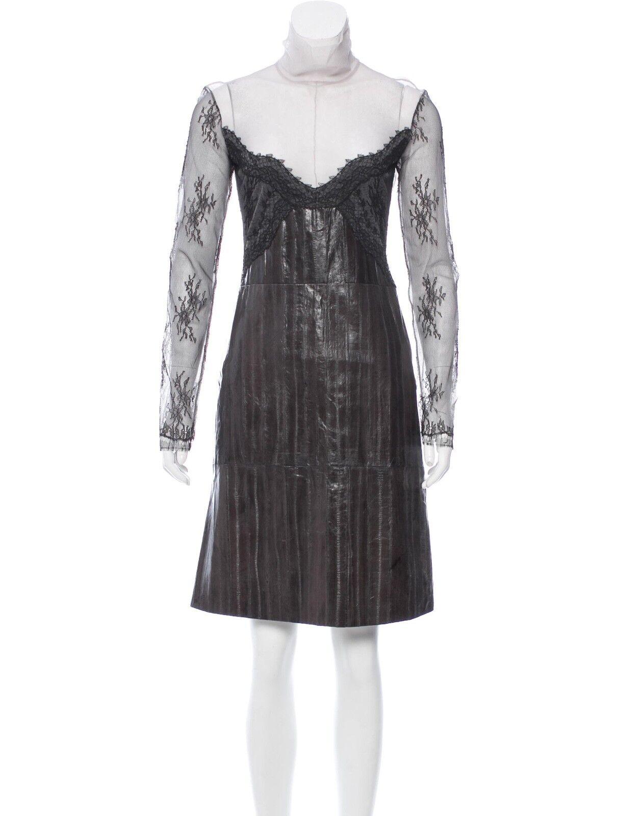 New Designer Nina Ricci Fabulous Front Lace Eel Skin Skirt Dress France  2290,42