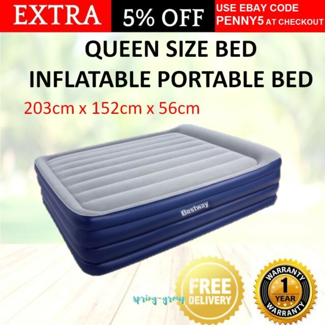 Queen Inflatable Air Bed Blow Up Mattress Portable Built In Pump Camping Travel