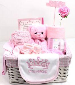 Cestas De Bebe Nina.Detalles De Nuevo Elegante Gran Ducha De Bebe Nina Bebe Cesta Cesta De Regalo Nuevo Bebe Panales Rosa Ver Titulo Original