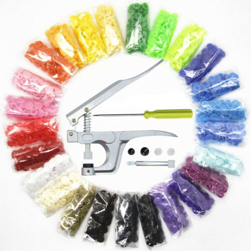 150 Plastic Resin Press Stud Cloth With//Without Fastener Snap Pliers KAM Button