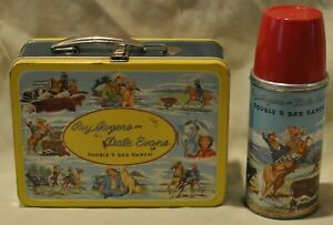 Roy Rogers Dale Evans metal lunch box w/thermos #2077 Double Bar J Ranch