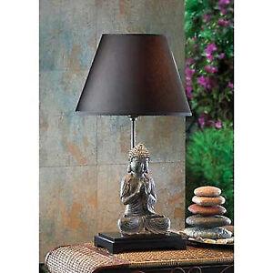 Thai Buddha Meditation Zen Statue Bedside End Table Lamp Night Light