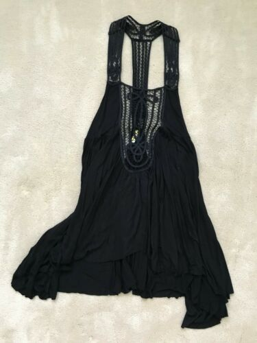FREE PEOPLE WOMENS BLACK TANK TOP BLOUSE SIZE MEDI