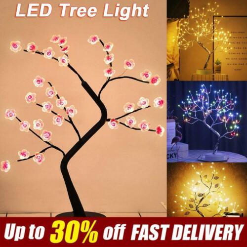 Battery Operated Lamp Home Decor DIY Gift LED Tabletop Bonsai Tree Light USB